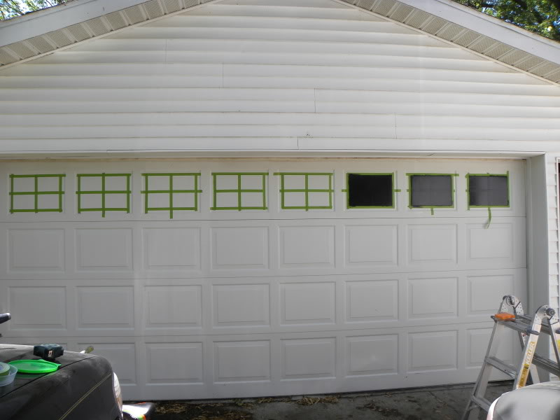 Faux garage door windows house to home blog for Build carriage garage doors