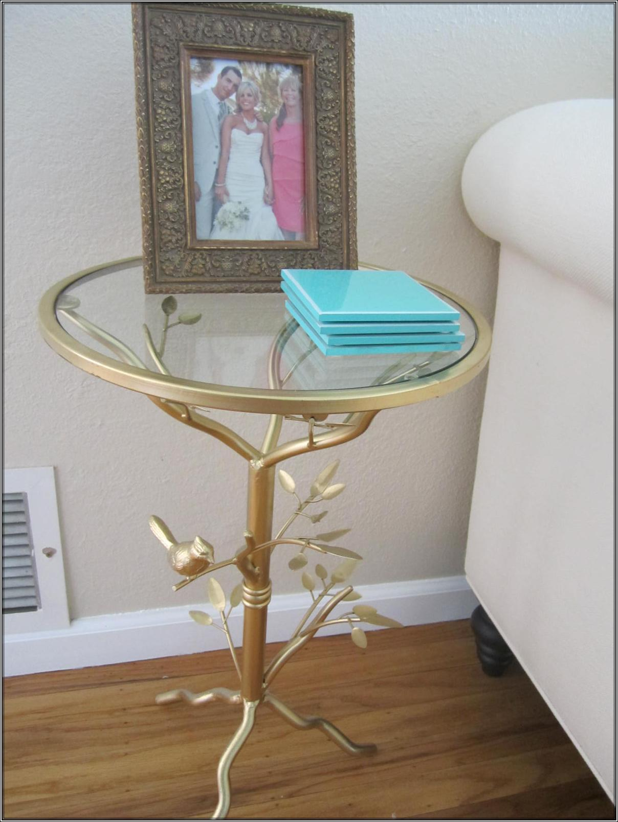 Spray Painted This Metal Table From Pier One With Rust Oleum Metallic