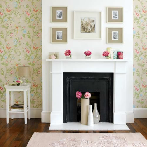 mantle white pink shabby chic wallpaper inspiration for decoration