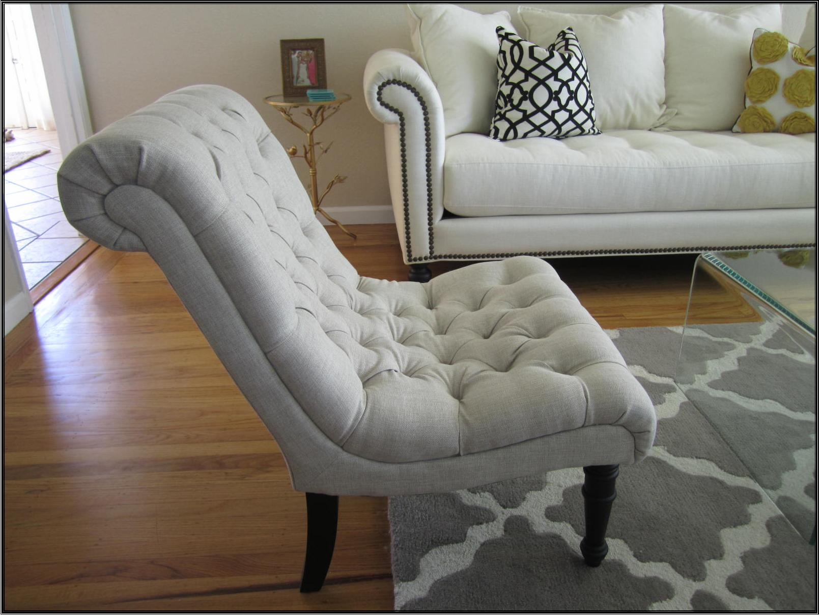 Modern Linen beige tufted lounge chairs are from Overstock – Super