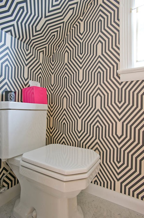 Geometric house to home blog for Funky bathroom wallpaper ideas