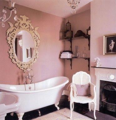 Pink vintage glam bathroom