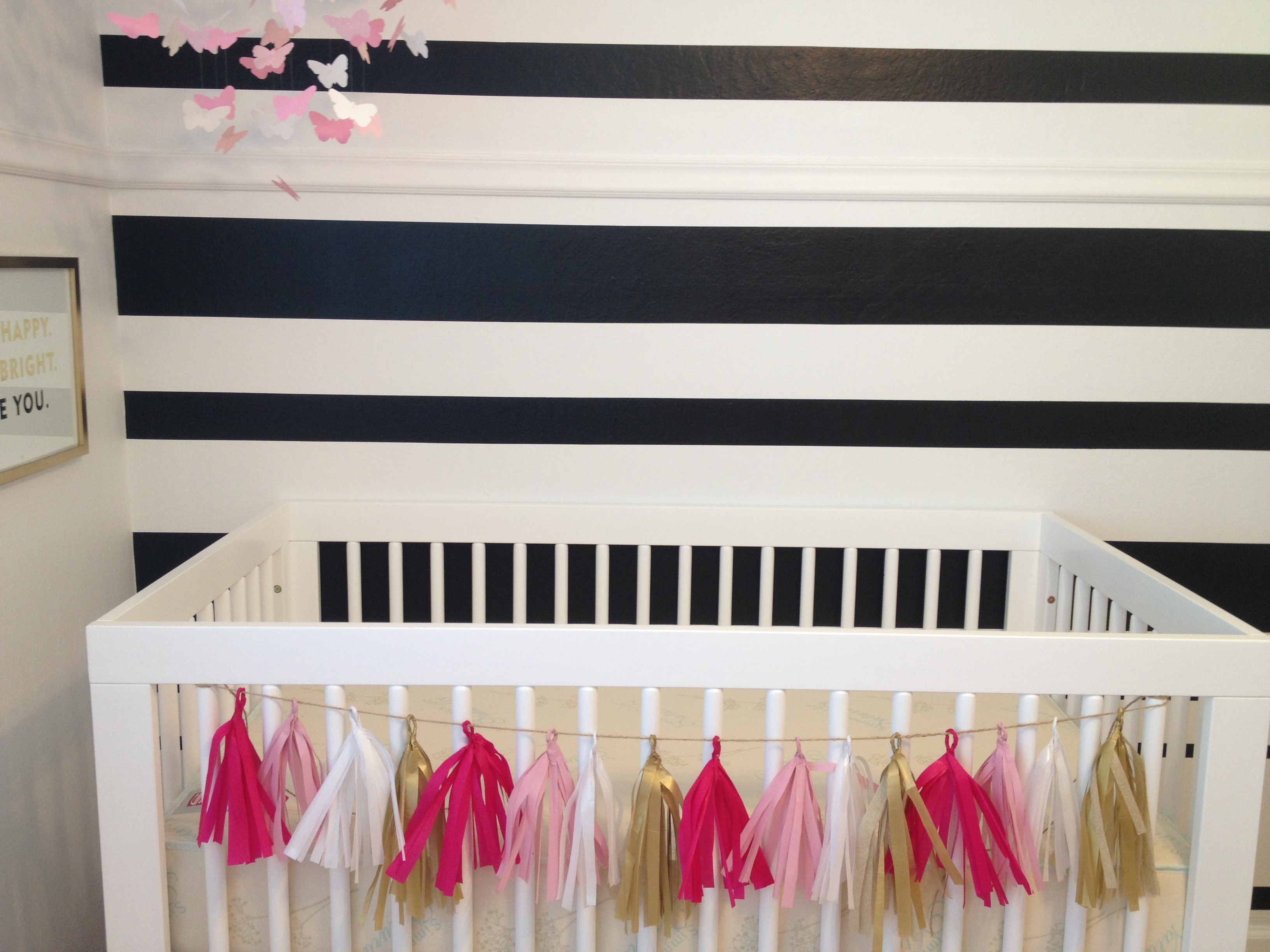 charming Tassel Garland Nursery Part - 5: I love how the garland brings texture u0026 fun girly glamour to her crib u0026  nursery .. I think she will love it. Obviously I wonu0027t be able to leave it  there ...
