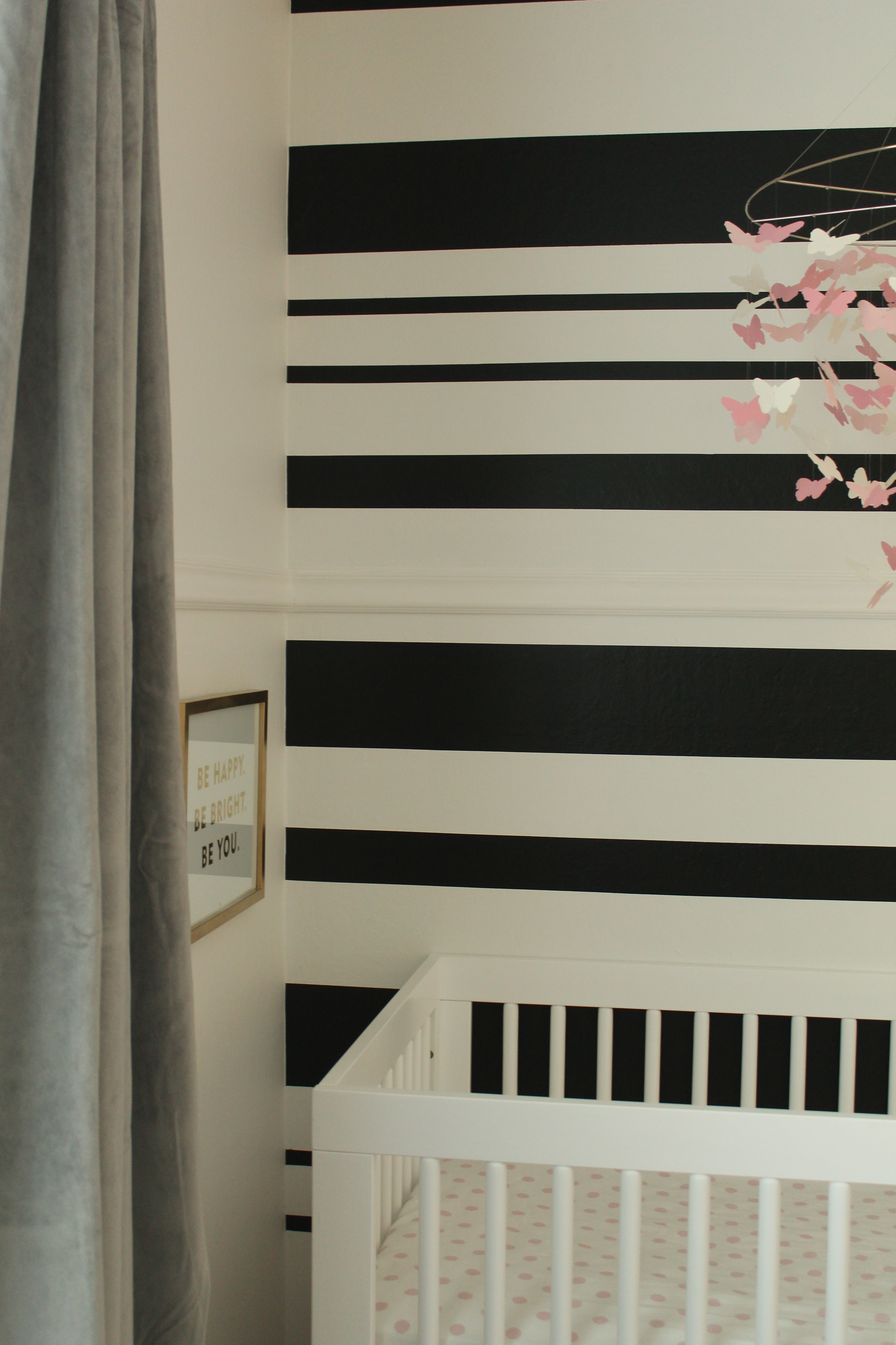 Diy black white stripe wall house to home blog for Black and white wallpaper for walls